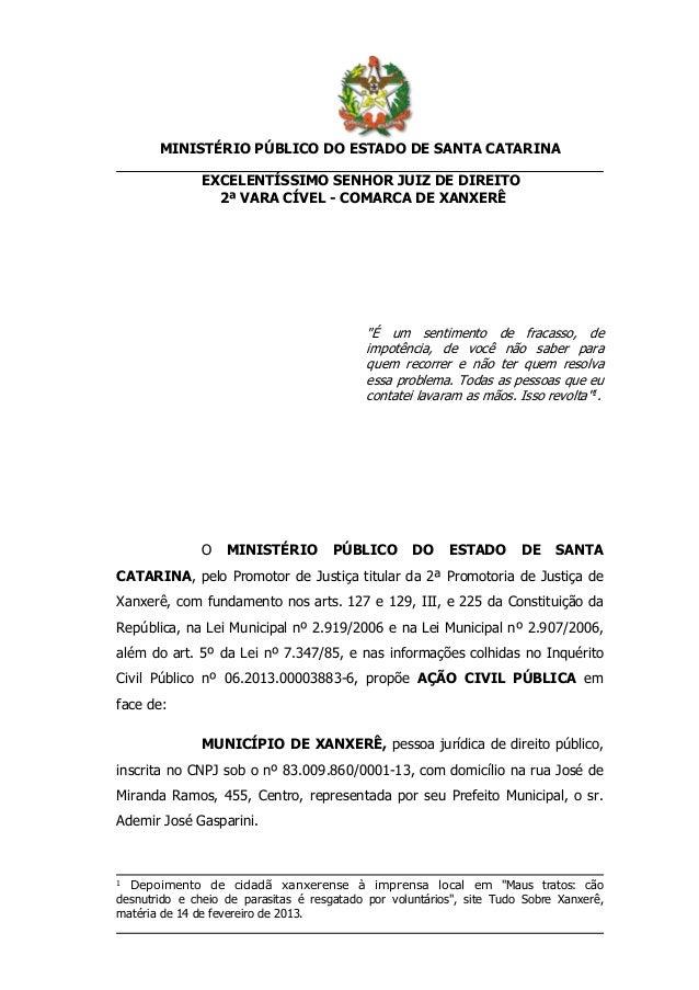 """MINISTÉRIO PÚBLICO DO ESTADO DE SANTA CATARINA EXCELENTÍSSIMO SENHOR JUIZ DE DIREITO 2ª VARA CÍVEL - COMARCA DE XANXERÊ  """"..."""