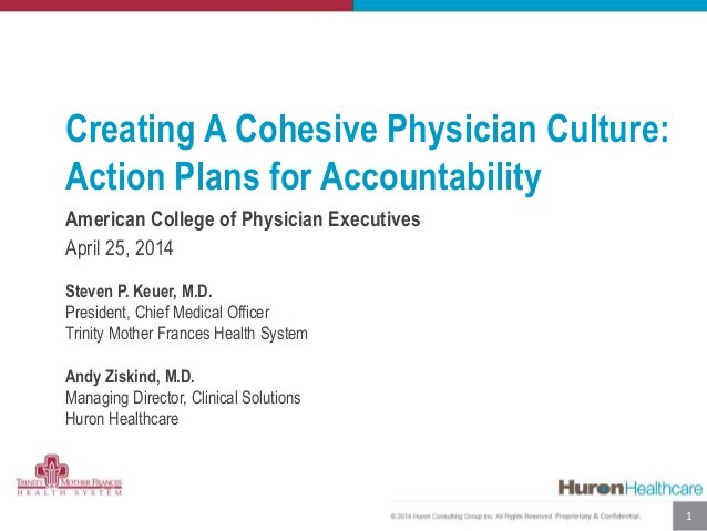 Creating A Cohesive Physician Culture: Action Plans for Accountability American College of Physician Executives April 25, ...