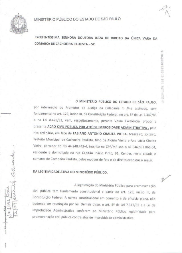 Ação Civil Publica por Improbidade Administrativa - Contra Fabiano Chalita Vieira