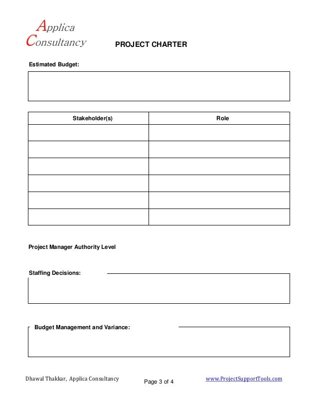 Project Charter Template  Document For Project Initiation