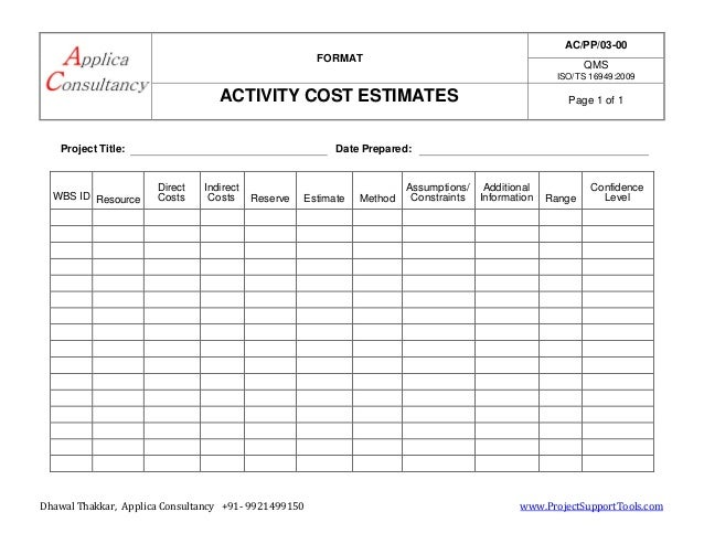 Project Management Activity Cost Estimate