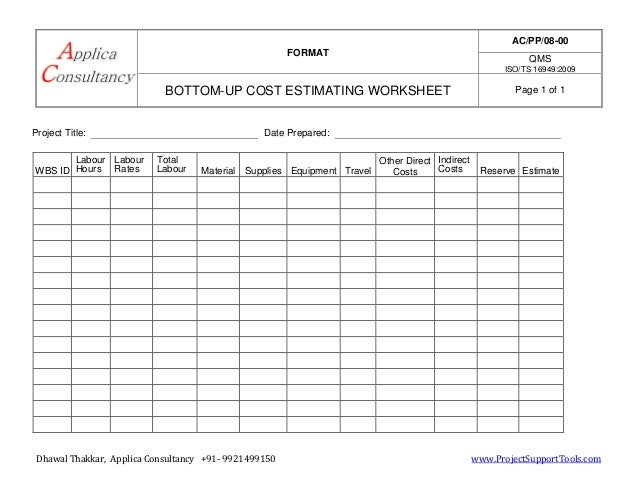 Bottom up estimating worksheet Ready template – Estimating Products Worksheets