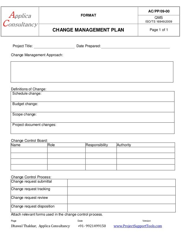 Change management plan ready template for Change management process document template