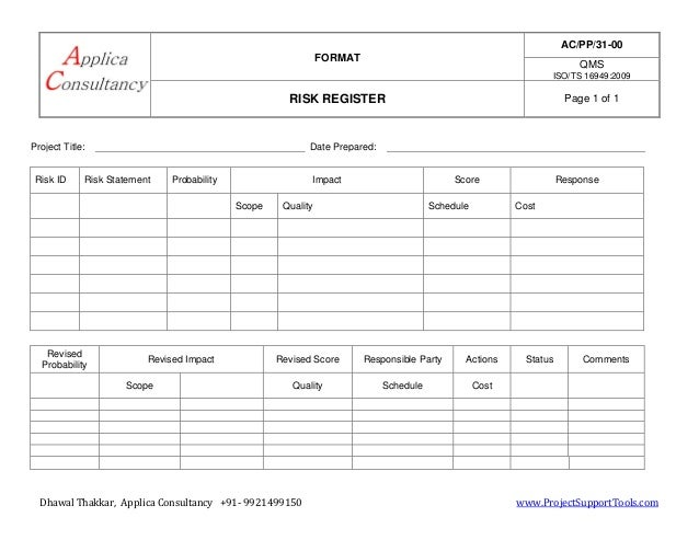 FORMAT AC/PP/31-00 QMS ISO/TS 16949:2009 RISK REGISTER Page 1 of 1 Dhawal Thakkar, Applica Consultancy +91- 9921499150 www...