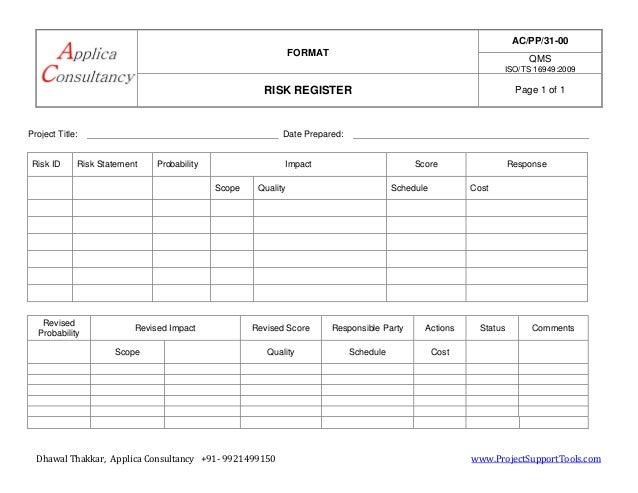 risk register or risk log a template to list down all the indentifi. Black Bedroom Furniture Sets. Home Design Ideas
