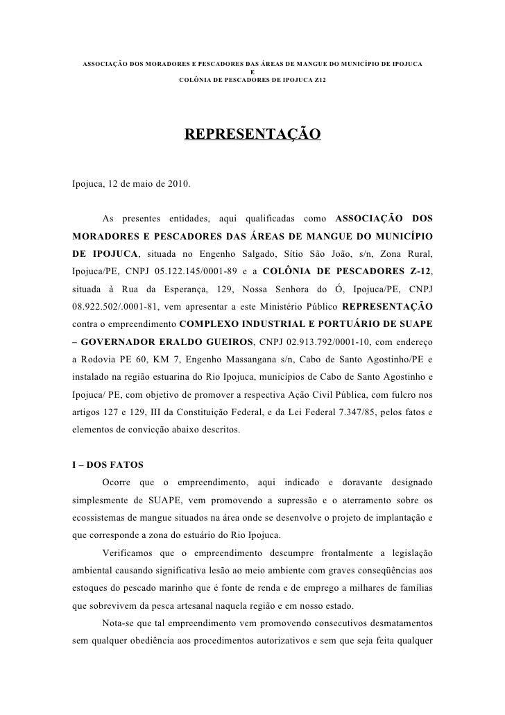 ASSOCIAÇÃO DOS MORADORES E PESCADORES DAS ÁREAS DE MANGUE DO MUNICÍPIO DE IPOJUCA                                         ...