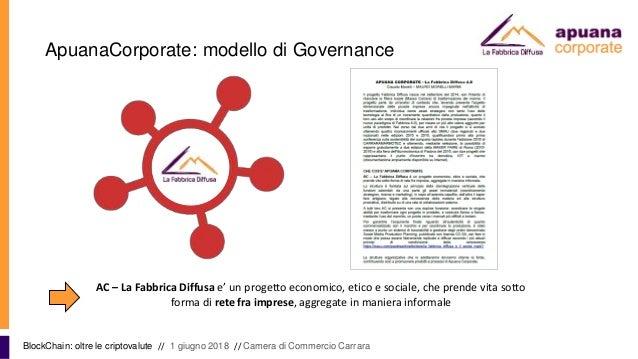 ApuanaCorporate: modello di Governance BlockChain: oltre le criptovalute // 1 giugno 2018 // Camera di Commercio Carrara A...