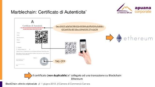 Marblechain: Certificato di Autenticita' BlockChain: oltre le criptovalute // 1 giugno 2018 // Camera di Commercio Carrara...