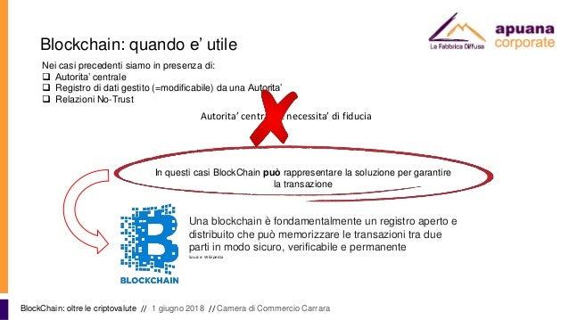 Blockchain: quando e' utile BlockChain: oltre le criptovalute // 1 giugno 2018 // Camera di Commercio Carrara Nei casi pre...