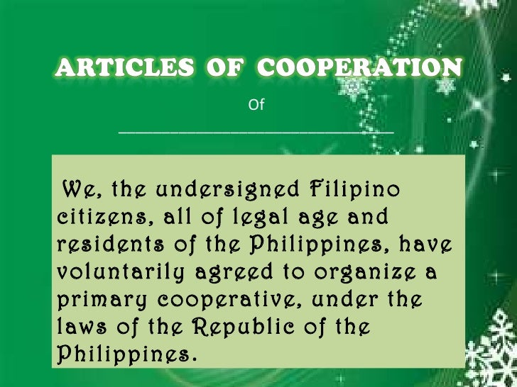 articles of cooperation of credit cooperative