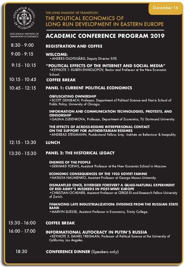 ACADEMIC CONFERENCE PROGRAM 2019 THE LONG SHADOW OF TRANSITION: THE POLITICAL ECONOMICS OF LONG RUN DEVELOPMENT IN EASTERN...