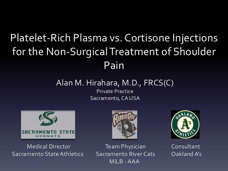 Platelet-Rich Plasma vs. Cortisone Injectionsfor the Non-Surgical Treatment of Shoulder                   Pain            ...