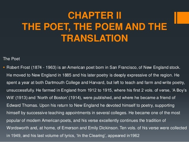 a comparison of the poems acquainted with the night by robert frost and unnamed poem by emily dickin