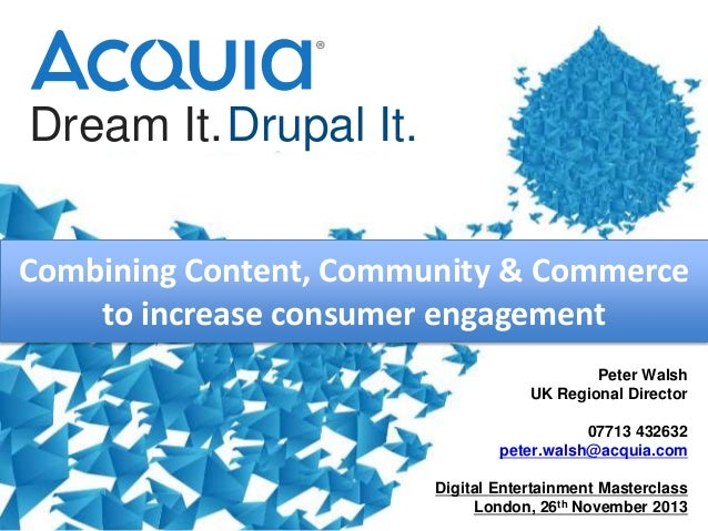 Dream It.Drupal It. Combining Content, Community & Commerce to increase consumer engagement Peter Walsh UK Regional Direct...