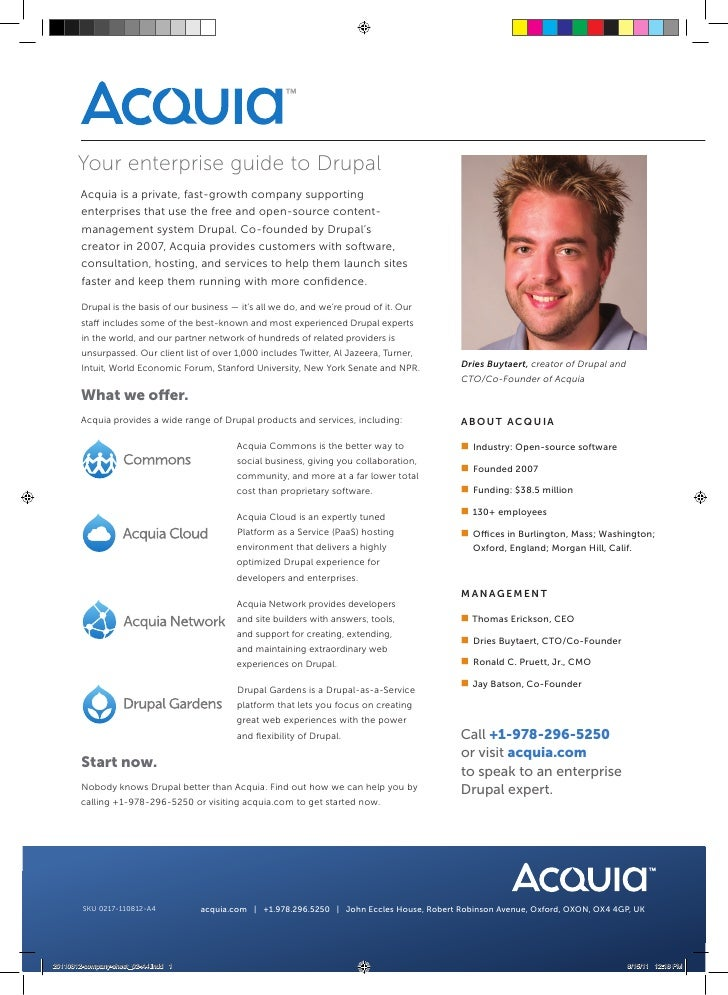 Your enterprise guide to Drupal        Acquia is a private, fast-growth company supporting        enterprises that use the...
