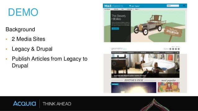 DEMO Background • 2 Media Sites • Legacy & Drupal • Publish Articles from Legacy to Drupal