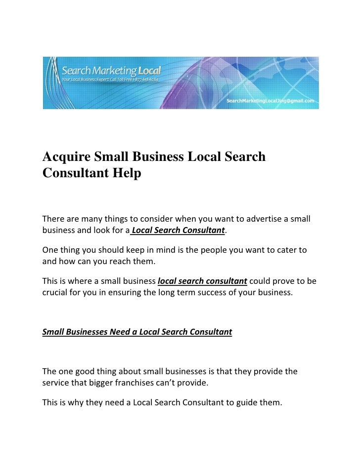 Acquire Small Business Local SearchConsultant ...