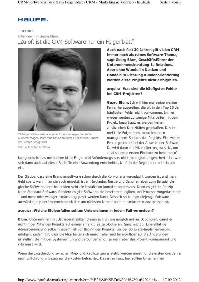 CRM-Software ist zu oft ein Feigenblatt - CRM - Marketing & Vertrieb - haufe.de  Seite 1 von 3  13.09.2012  Interview mit ...