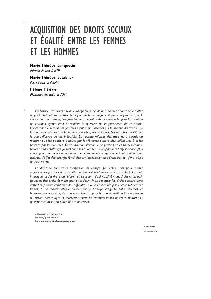 ACQUISITION DES DROITS SOCIAUX ET ÉGALITÉ ENTRE LES FEMMES ET LES HOMMES Marie-Thérèse Lanquetin Université de Paris X, IR...