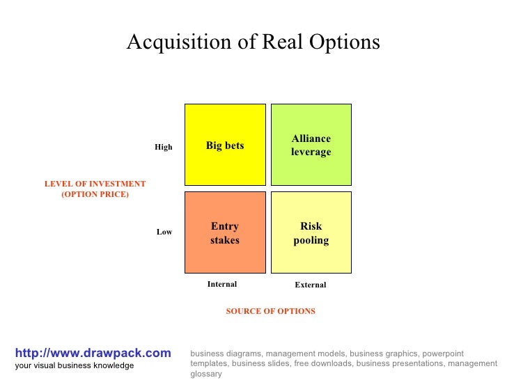 Acquisition Of Real Options Business Diagram