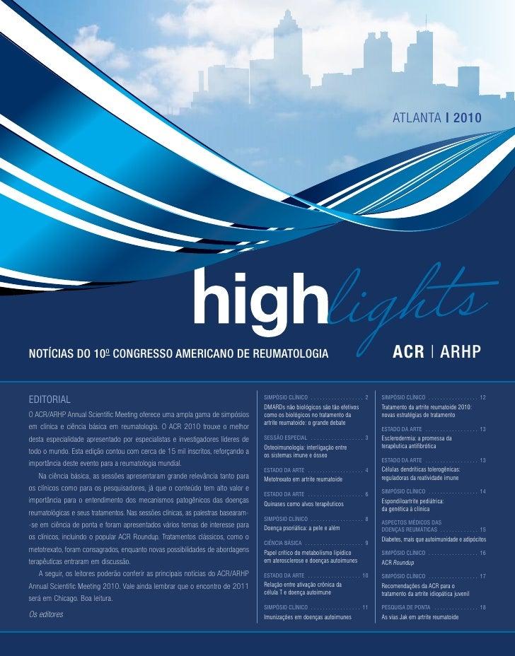atlanta | 2010Notícias do 10o Congresso Americano de Reumatologia                                                         ...