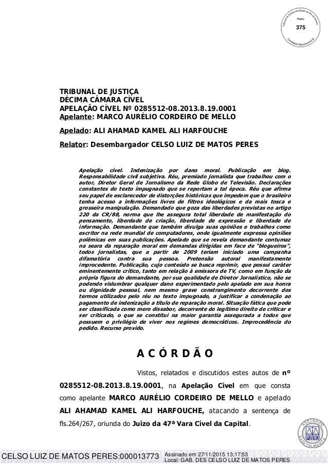 TRIBUNAL DE JUSTIÇA DÉCIMA CÂMARA CÍVEL APELAÇÃO CÍVEL Nº 0285512-08.2013.8.19.0001 Apelante: MARCO AURÉLIO CORDEIRO DE ME...
