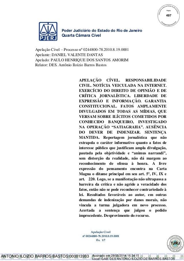 Poder Judiciário do Estado do Rio de Janeiro Quarta Câmara Cível Apelação Cível nº 00244800-78.2010.8.19.0001 fls. 1/7 Ape...