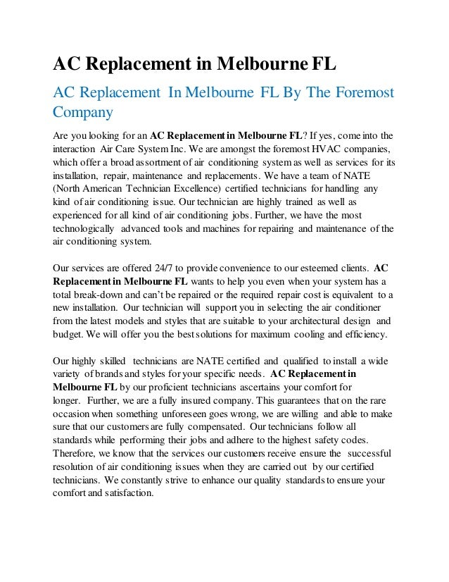 AC Replacement in Melbourne FL AC Replacement In Melbourne FL By The Foremost Company Are you looking for an AC Replacemen...