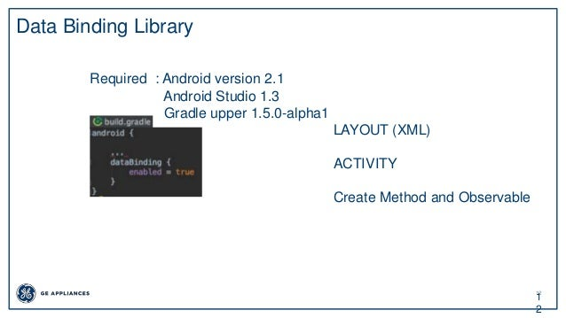 12 1 2 Data Binding Library Required : Android version 2.1 Android Studio 1.3 Gradle upper 1.5.0-alpha1 LAYOUT (XML) ACTIV...