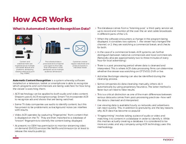 8 How ACR Works What Is Automated Content Recognition Data? Content and advertisements are ingested across multiple connec...
