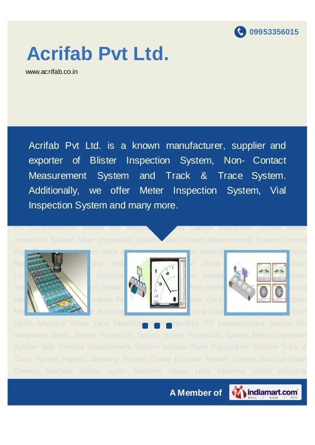 09953356015    Acrifab Pvt Ltd.    www.acrifab.co.inBlister   Inspection    System     Meter    Inspection   System      N...