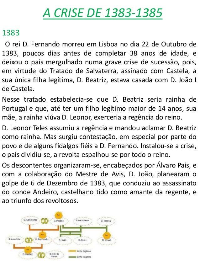 A CRISE DE 1383-13851383O rei D. Fernando morreu em Lisboa no dia 22 de Outubro de1383, poucos dias antes de completar 38 ...