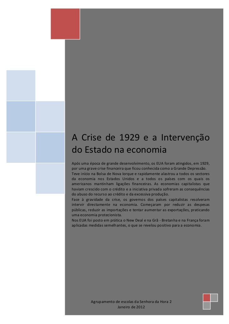 A crise de 1929 e a intervenção do estado na economia
