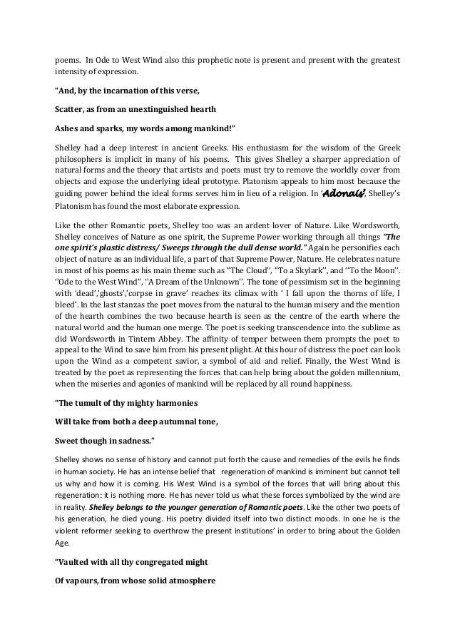 critical appreciation of ode to the west wind Essay questions cite this literature note  is ode to the west wind a better poem than to a skylark in the arrangement of its parts 5  critical essay.