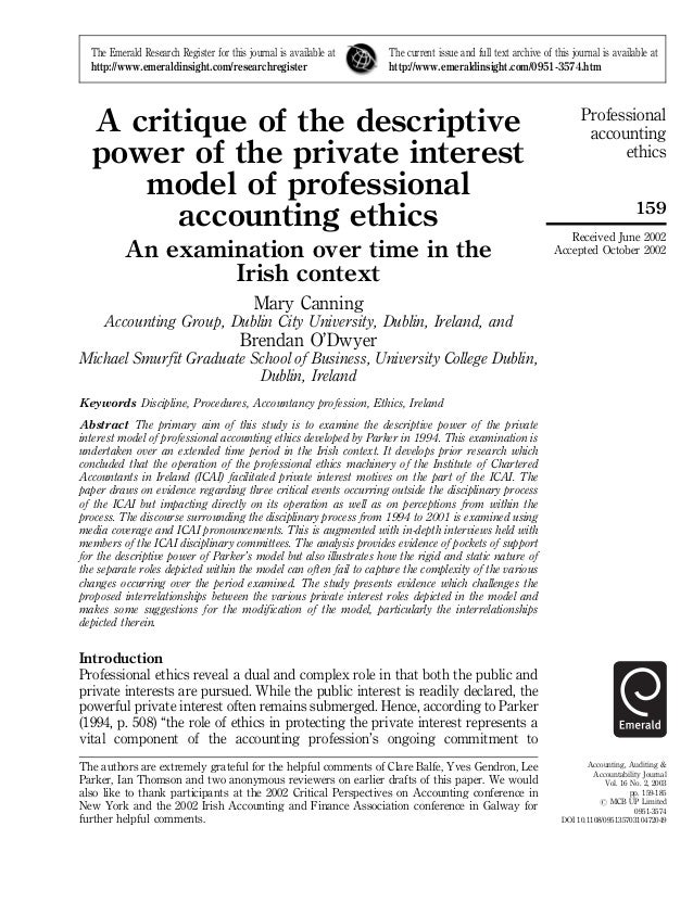 Professional accounting ethics 159 Accounting, Auditing & Accountability Journal Vol. 16 No. 2, 2003 pp. 159-185 # MCB UP ...