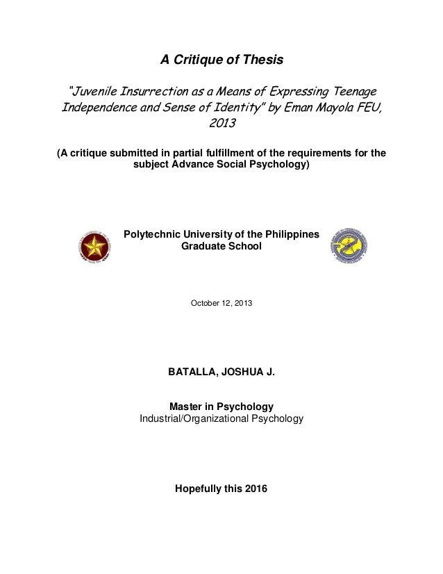 Dissertation critique 1