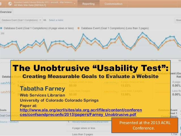 """The Unobtrusive """"Usability Test"""":  Creating Measurable Goals to Evaluate a Website Tabatha Farney Web Services Librarian U..."""