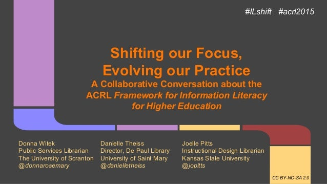 Shifting our Focus, Evolving our Practice A Collaborative Conversation about the ACRL Framework for Information Literacy f...