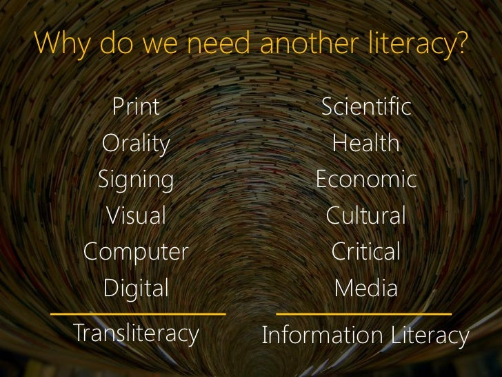 Why do we need another literacy?     Print             Scientific    Orality             Health    Signing            Econ...