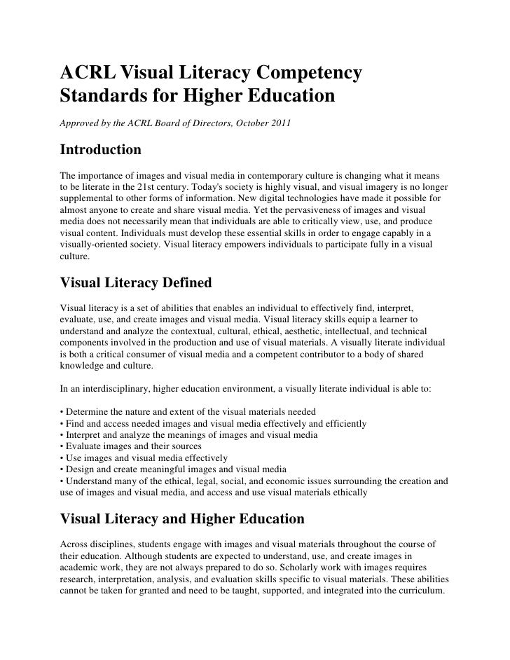 ACRL Visual Literacy CompetencyStandards for Higher EducationApproved by the ACRL Board of Directors, October 2011Introduc...