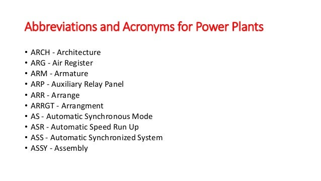 Abbreviations and Acronyms for Power Plants