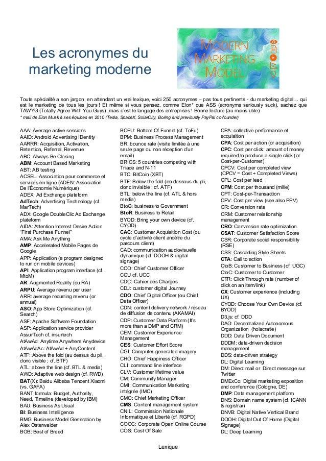 Lexique Les acronymes du marketing moderne Toute spécialité a son jargon, en attendant un vrai lexique, voici 250 acronyme...