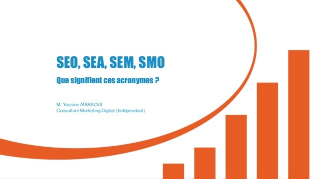 SEO, SEA, SEM, SMO Que signifient ces acronymes ? M. Yassine AÏSSAOUI Consultant Marketing Digital (Indépendant)