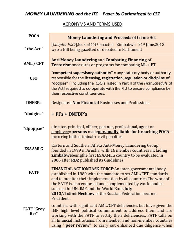 MONEY LAUNDERING and the ITC – Paper by Optimalegal to CSZ ACRONYMS AND TERMS USED POCA  Money Laundering and Proceeds of ...