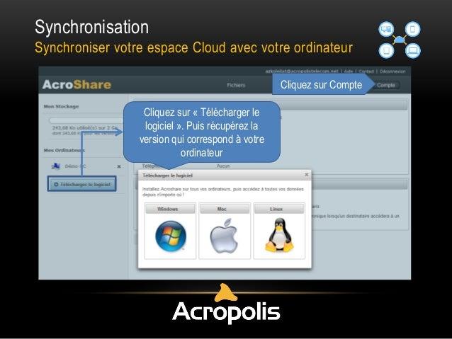 Synchronisation Synchroniser votre espace Cloud avec votre ordinateur Cliquez sur Compte Cliquez sur « Télécharger le logi...