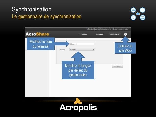 Synchronisation Le gestionnaire de synchronisation Lancez le site Web Modifiez la langue par défaut du gestionnaire Modifi...