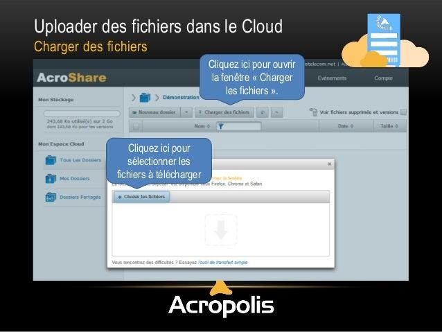 Uploader des fichiers dans le Cloud Charger des fichiers Cliquez ici pour ouvrir la fenêtre « Charger les fichiers ». Cliq...