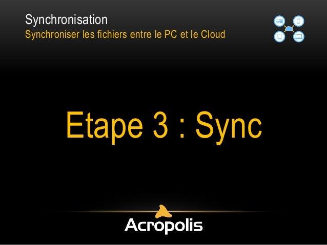 Synchronisation Synchroniser les fichiers entre le PC et le Cloud Etape 3 : Sync