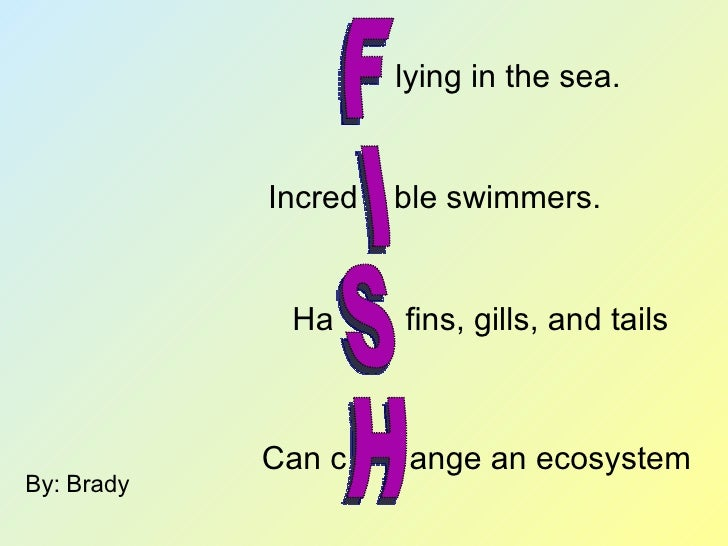 Acrostic poems with a twist web for The fish poem