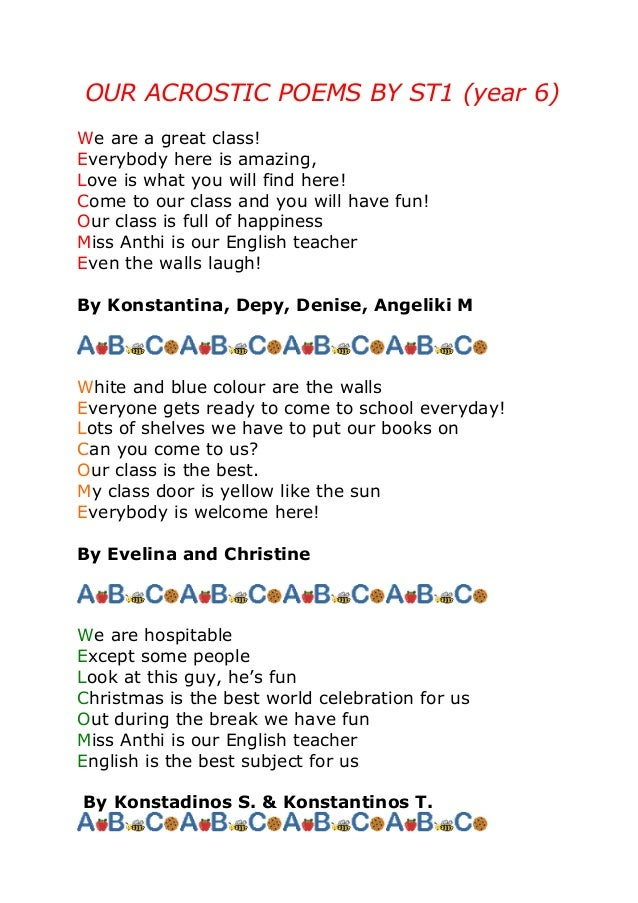 Acrostic Poems By St1